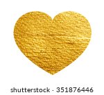heart love gold watercolor... | Shutterstock .eps vector #351876446