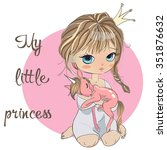 cute little princess with pink... | Shutterstock .eps vector #351876632