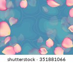 blue water with rose petals... | Shutterstock .eps vector #351881066