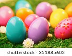 easter eggs collection on the... | Shutterstock . vector #351885602