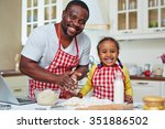 african american man and little ... | Shutterstock . vector #351886502