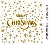 golden glowing merry christmas... | Shutterstock . vector #351898076