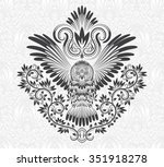 Stock vector owl with outstretched wings on floral background patterned owl in tribal totem tattoo style 351918278