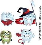 halloween tooth character...   Shutterstock .eps vector #35192107
