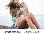 young adult  woman and her dog... | Shutterstock . vector #351933116