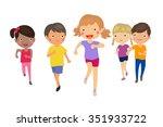 running children | Shutterstock .eps vector #351933722