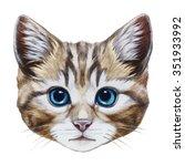 Portrait Of Cat. Hand Drawn...