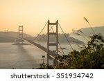 it is beautiful tsing ma bridge ... | Shutterstock . vector #351934742