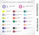 cancer awareness ribbons vector | Shutterstock .eps vector #351940352