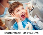 crying and screaming little boy ... | Shutterstock . vector #351961295