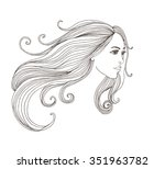 woman face with long hair.... | Shutterstock .eps vector #351963782