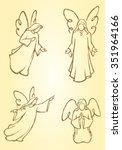 meditating angels variation of... | Shutterstock .eps vector #351964166