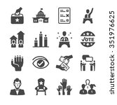 democracy and political icons.... | Shutterstock .eps vector #351976625
