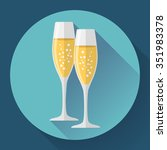 two glasses of champagne. icon... | Shutterstock .eps vector #351983378