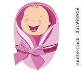cute new born baby girl vector... | Shutterstock .eps vector #351993926