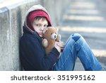 dramatic portrait of a little... | Shutterstock . vector #351995162