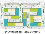 board game with green people on ... | Shutterstock .eps vector #351999848