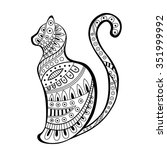 abstract black white cat... | Shutterstock .eps vector #351999992