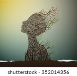 spring soul  tree branch looks... | Shutterstock .eps vector #352014356