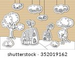 cardboard village. editable set ... | Shutterstock .eps vector #352019162