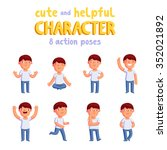 boy vector mascot in 8 action... | Shutterstock .eps vector #352021892