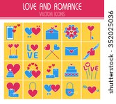 flat icons set of valentine's... | Shutterstock .eps vector #352025036