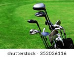 golf bag with clubs on green... | Shutterstock . vector #352026116