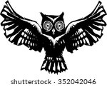 woodcut flying owl with... | Shutterstock .eps vector #352042046