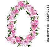 floral frame made of pink... | Shutterstock .eps vector #352043258