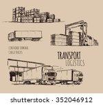 cargo truck. warehouse. hand...