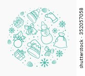 christmas circle. hand drawn... | Shutterstock .eps vector #352057058