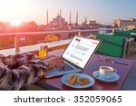 traveling person working on... | Shutterstock . vector #352059065