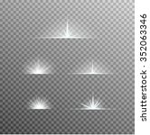 vector set of glowing light... | Shutterstock .eps vector #352063346