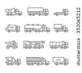 set line icons of trucks...