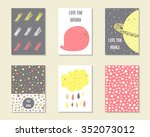 cute hand drawn doodle birthday ... | Shutterstock .eps vector #352073012
