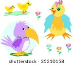 mix of ducks  chicken  parrot ... | Shutterstock .eps vector #35210158