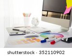 modern office workplace with... | Shutterstock . vector #352110902
