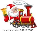 cartoon santa claus driving... | Shutterstock .eps vector #352112888