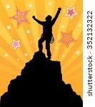 climber reaching the summit | Shutterstock .eps vector #352132322