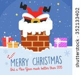 funny christmas card with santa ... | Shutterstock .eps vector #352133402
