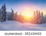 beautiful sunset in winter... | Shutterstock . vector #352133432