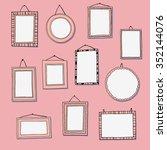 hand drawn frames set on pink.... | Shutterstock .eps vector #352144076