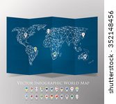world map with national flags... | Shutterstock .eps vector #352148456