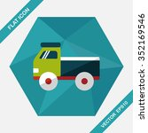 truck flat icon with long...