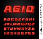 isometric font. vector alphabet ... | Shutterstock .eps vector #352173266