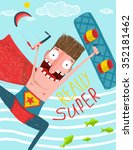 kitesurfing caricature... | Shutterstock .eps vector #352181462