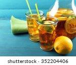 Iced Tea With Lemon On  Color...