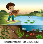 boy and turtle by the pond... | Shutterstock .eps vector #352223432