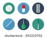 medical icons set flat. pill ... | Shutterstock .eps vector #352223702