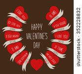cute retro valentines day card... | Shutterstock . vector #352228832